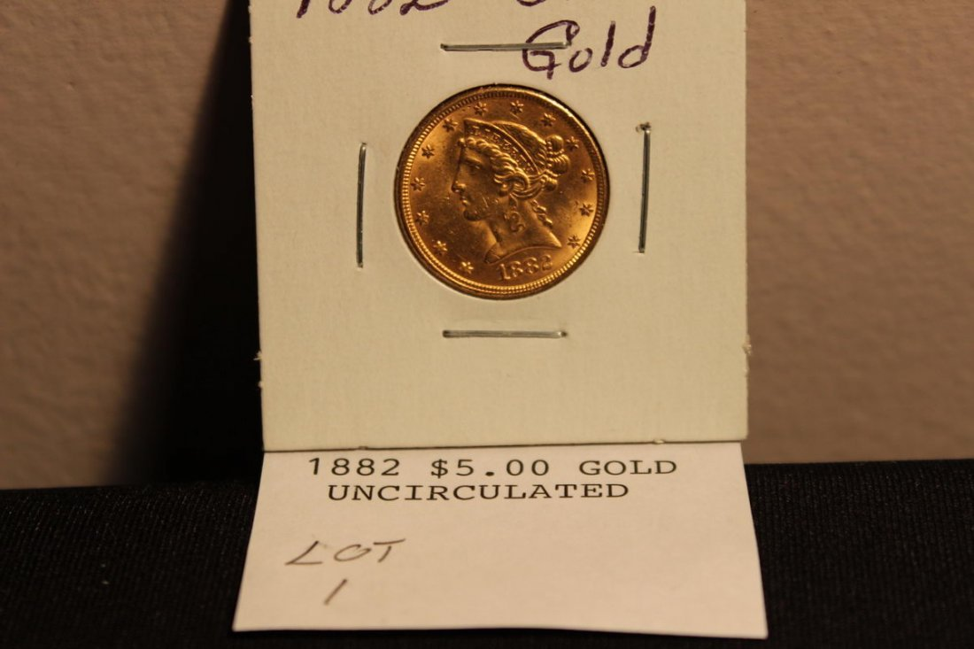 1882 $5.00 GOLD UNCIRCULATED
