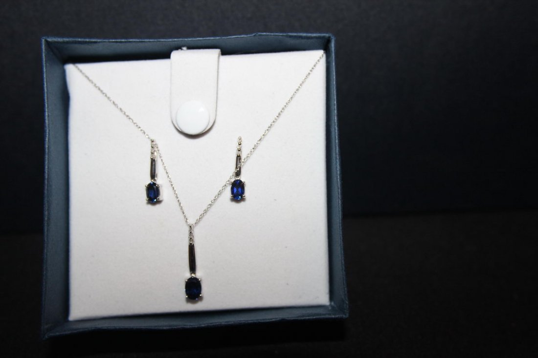 "10K THREE-PIECE W. G. SET 20"" NECKLACE / EARRINGS WITH"
