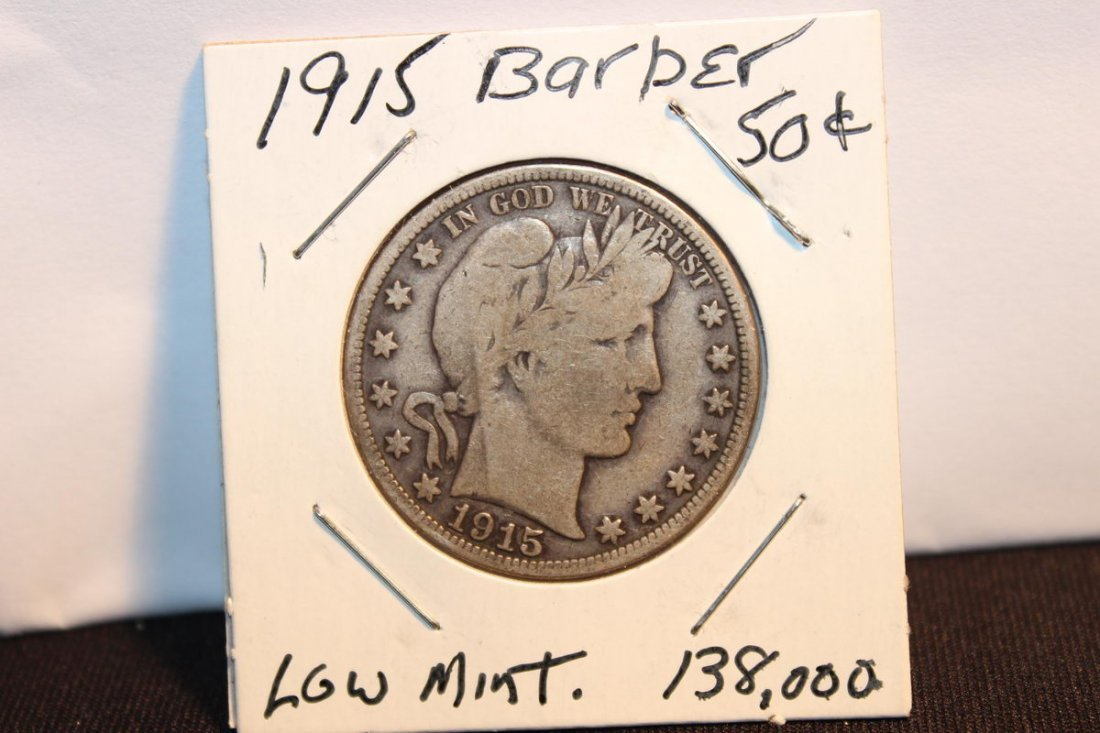 RARE DATE 1915 BARBER 50 CENT - LOW MINTAGE 138,000