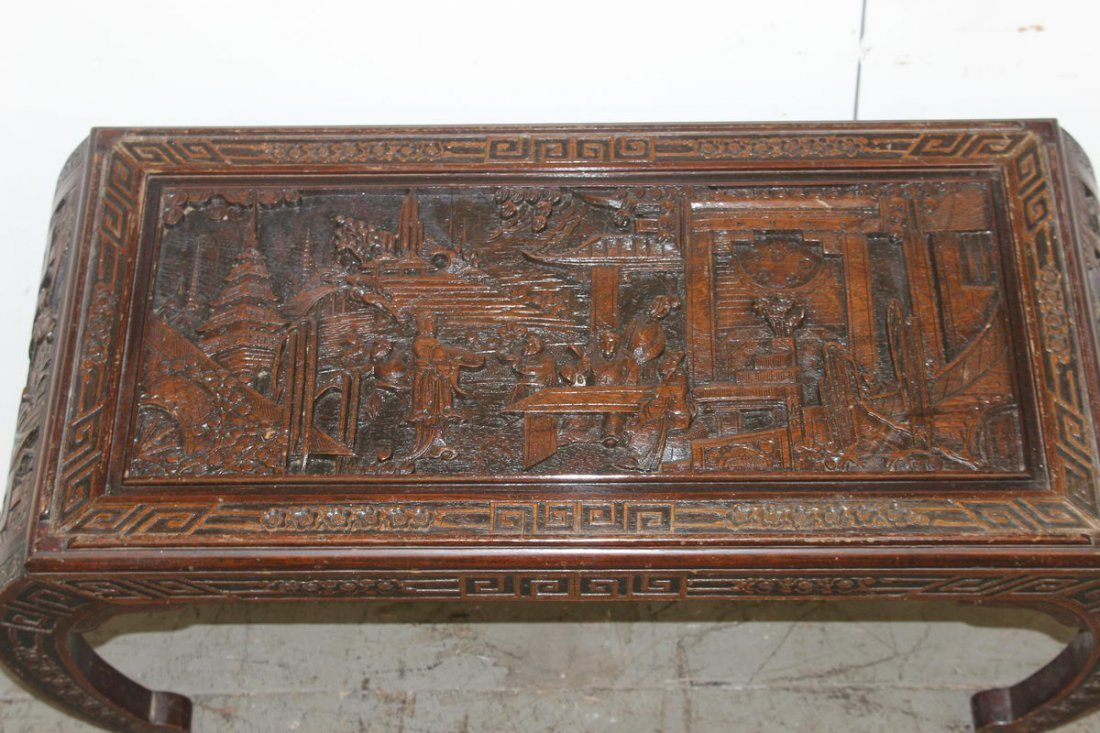 WONDERFUL HEAVILY CARVED ORIENTAL COFFEE TABLE GREAT TO