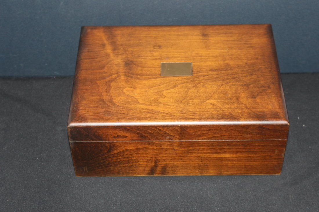EXCELLENT FLAMING BIRCH TOBACCO HUMIDOR GLASS LINED IN