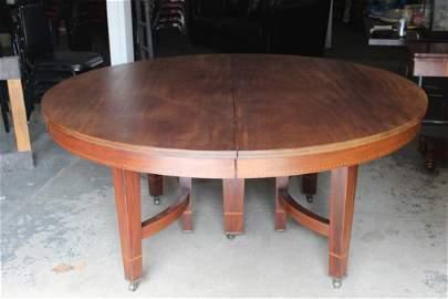 MASSIVE MAHOGANY DINING TABLE WITH LOTS OF INLAY -