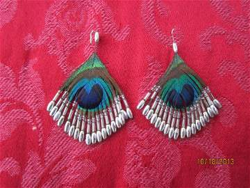 UNUSUAL PAIR OF PHEASANT FEATHER AND STERLING EARRINGS