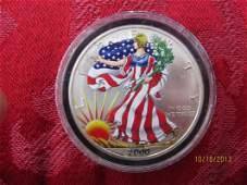 ENAMELED STARS AND STRIPES 1 OUNCE FINE SILVER DOLLAR