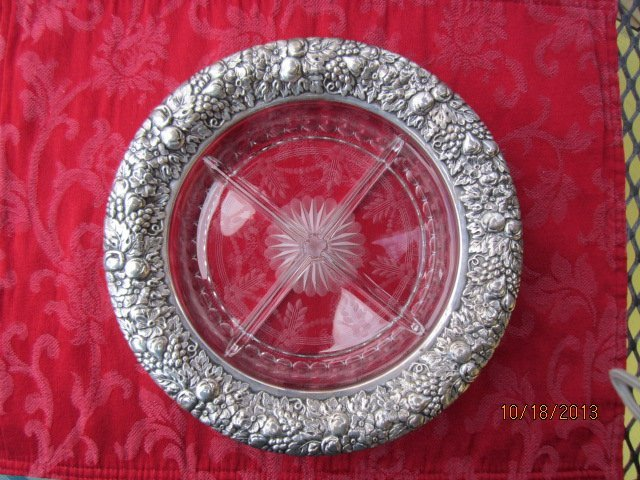 DIVIDED GLASS AND STERLING SILVER DRESSER TRAY - MARKED