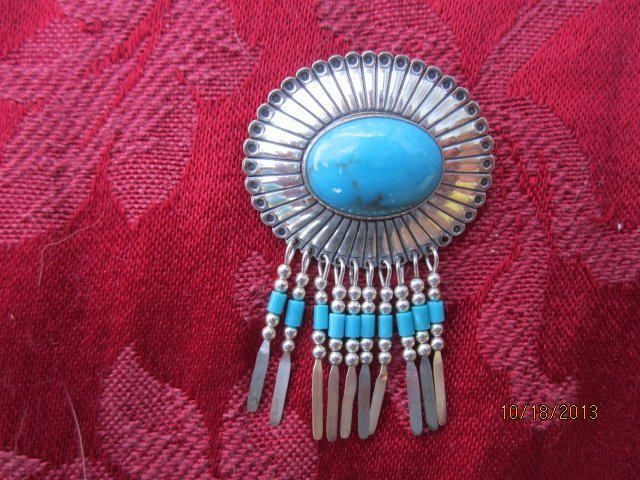 GREAT TURQUOISE AND STERLING BROACH PENDANT