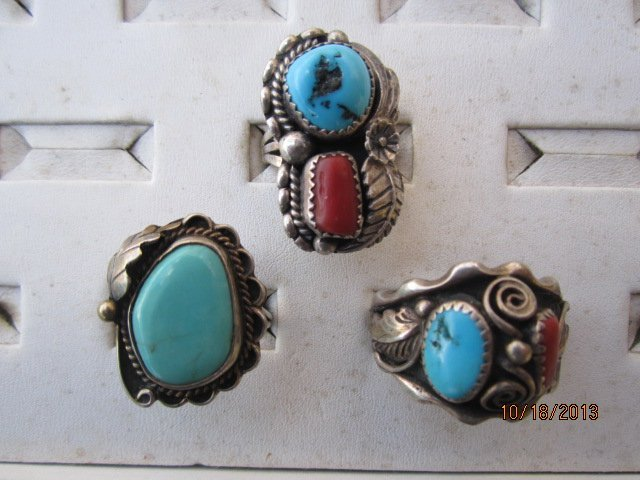 3 OUTSTANDING STERLING AND TURQUOISE NATIVE AMERICAN