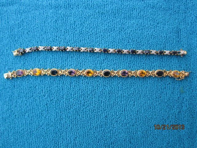2 STERLING GOLD WASHED BRACELETS ONE WITH SAPPHIRE THE