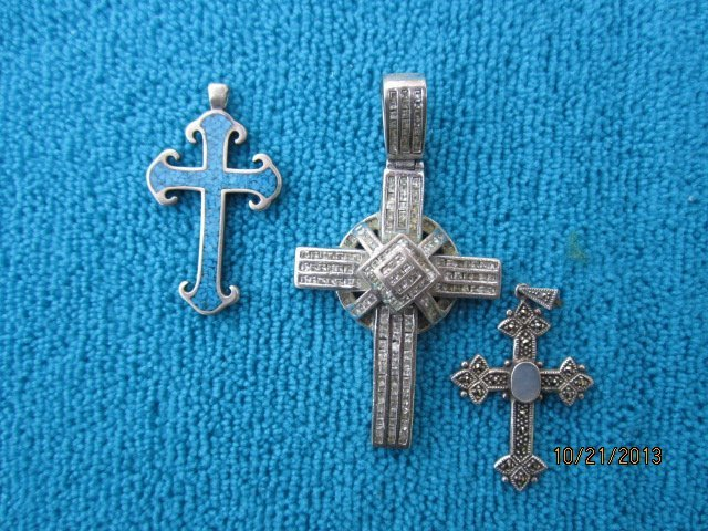 3 STERLING CROSS NECKLACE PINS ALL ONE WAY