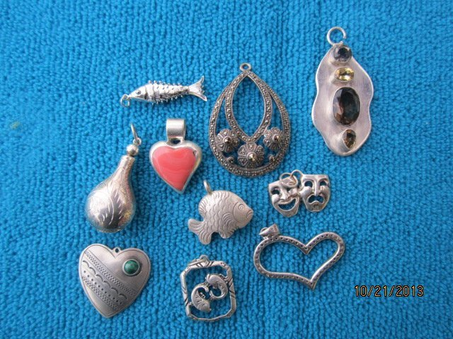 10 NICE STERLING NECKLACE PINS ALL ONE WAY