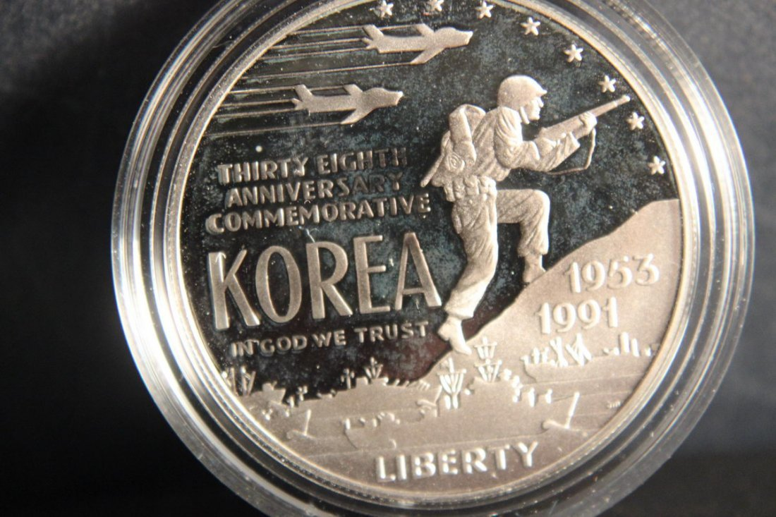 1991 KOREAN WAR MEMORIAL PROOF SILVER DOLLAR 90% SILVER