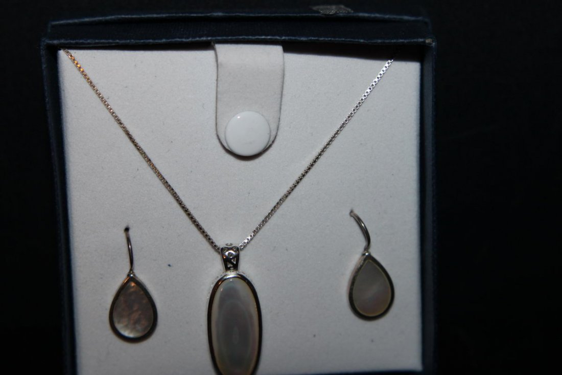 3 PIECE STERLING SILVER MOTHER-OF-PEARL EARRINGS AND