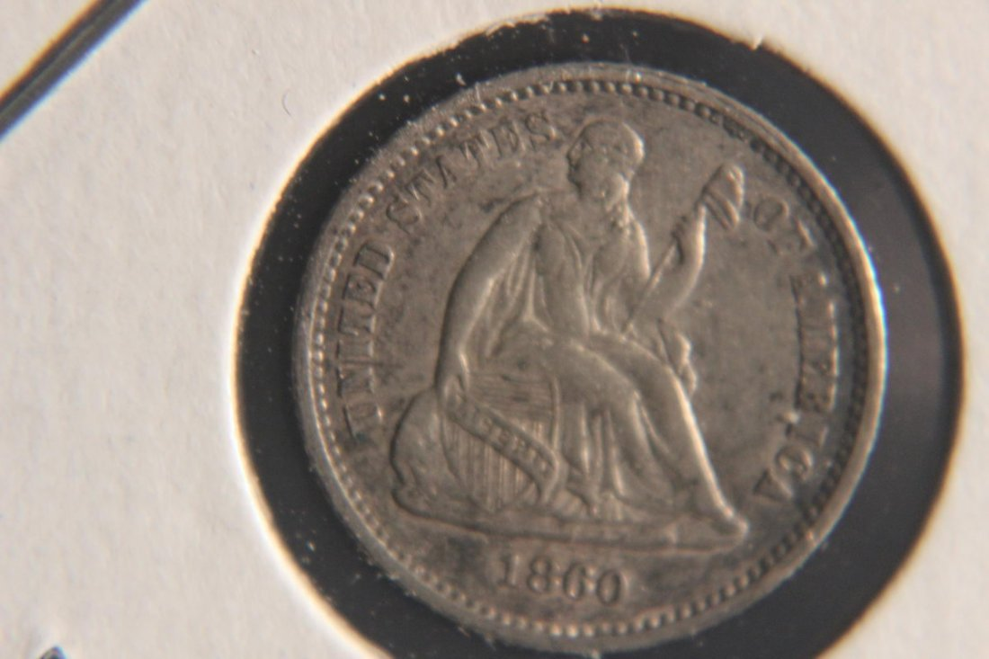 1860 SEATED HALF DIME EX. FINE CONDITION - EXCEPTIONAL