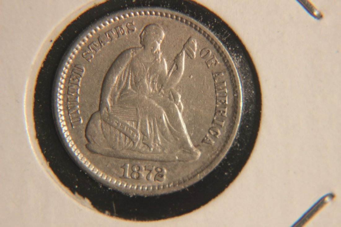 1872 SEATED HALF DIME EX. FINE CONDITION - EXCEPTIONAL