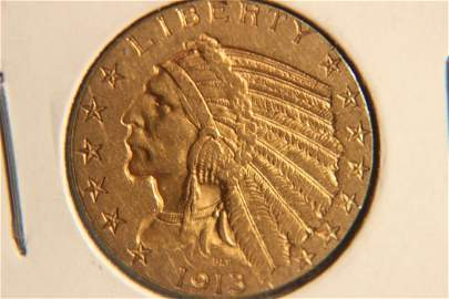1913 INDIANHEAD $5.00 GOLD COIN