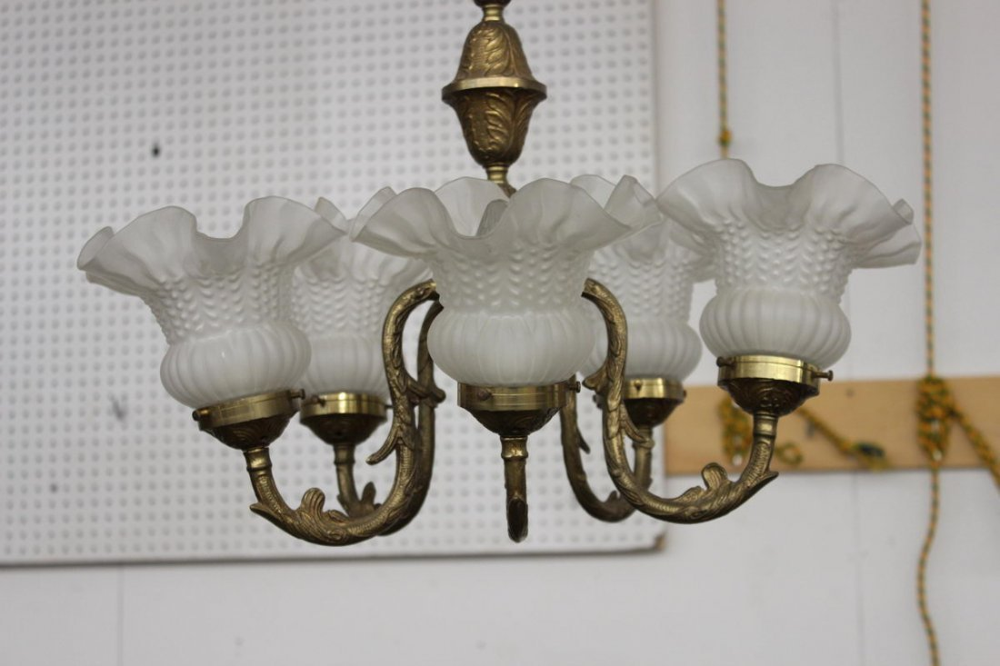 BRASS HANGING CHANDELIER W/ 5 SHAPED SHADES - MINT