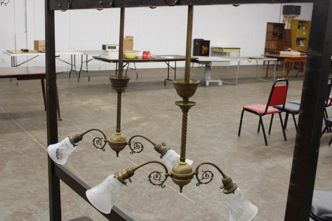 NICE PAIR OF DOUBLE BRASS HANGING CHANDELIERS W/ ORNATE
