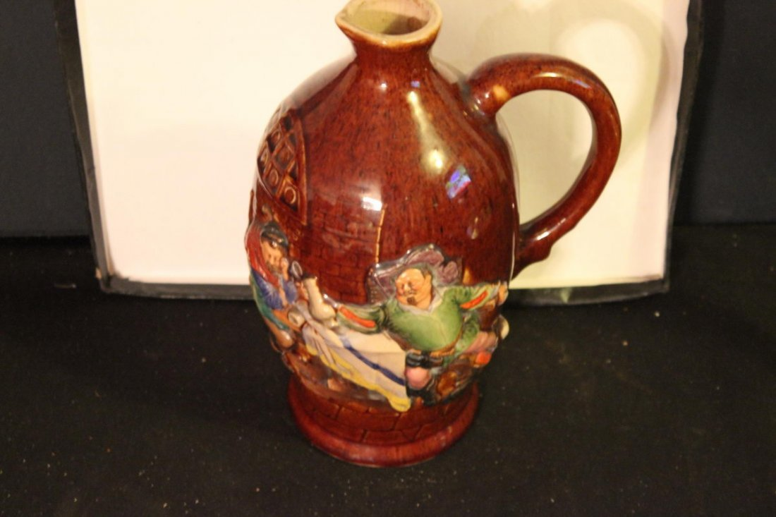 GREAT OLD GERMAN BEER PITCHER RAISED GRAPHICS VERY