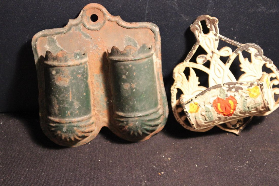 2 NICE OLD BEHIND THE STOVE MATCH HOLDER - DOUBLE TIN