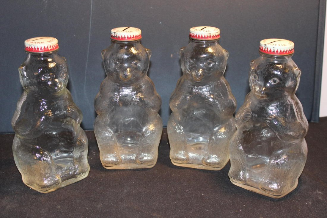 "4 GLASS BANKS BY SNOW CREST BEVERAGES MINT 7"" TALL"