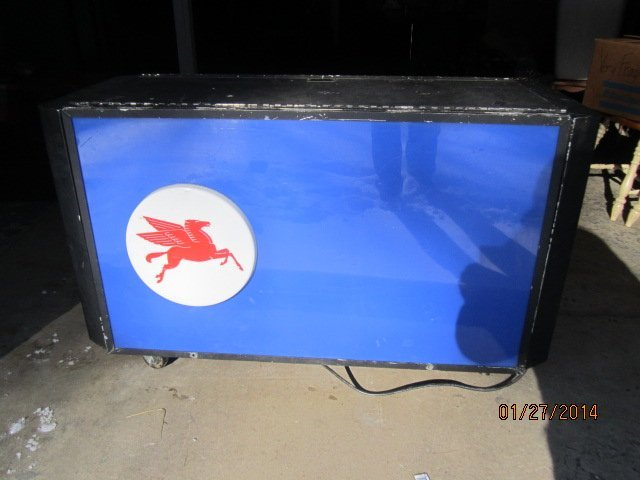 "UNUSUAL 4' X 20"" LIGHTED MOBIL GAS SIGN - DOUBLE SIDES"