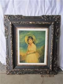 EARLY 30 X 36 INCH BLACK AND GOLD GILT FRAME
