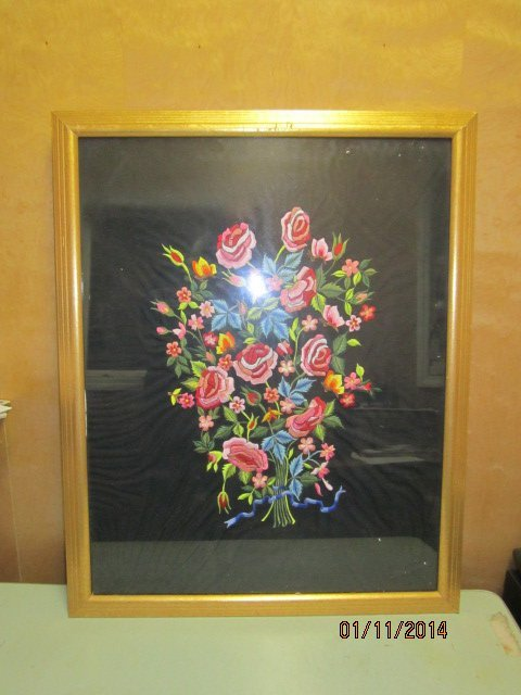 NICE 24 X 30 INCH NEEDLEPOINT IN GOLD FRAME