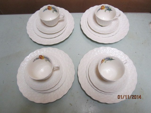 EARLY COPELAND SPODE LUNCH SET 4 PLACE SETTINGS OF 3 -