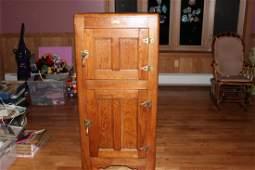 SUPER 2 DOOR OAK ICE BOX - MINT COND. INSIDE & OUT - 53