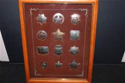 GREAT 1987 SET OF 12 STERLING SILVER BADGES AND WOOD