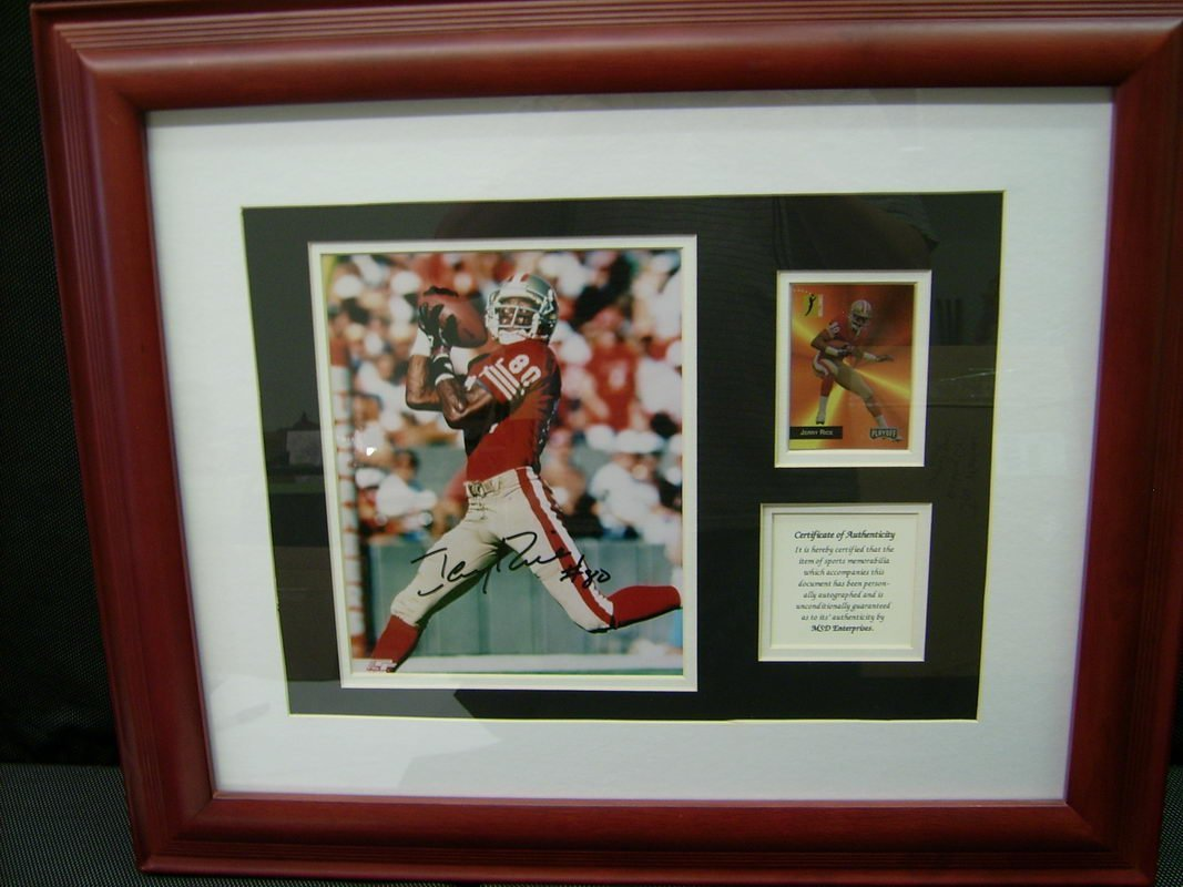 JERRY RICE AUTOGRAPH CARD AND GREAT FRAME