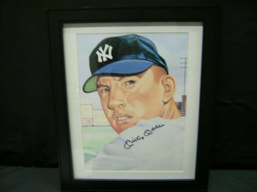 MASSIVE MICKEY MANTLE ORIGINAL ART AUTOGRAPHED