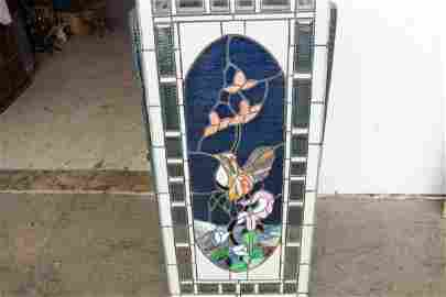 BEAUTIFUL STAINED LEADED BEVELED GLASS WINDOW 44.5 X 21