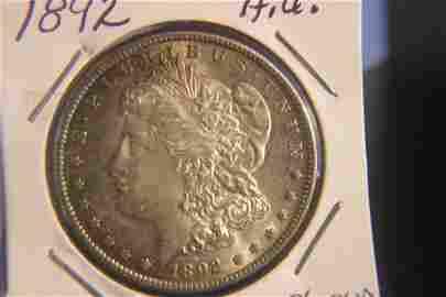1892 MORGAN SILVER DOLLAR LOW MINTAGE - A.U. +