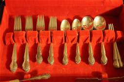 ROGERS STERLING SILVER FLATWARE  44 PIECE SERVICE FOR