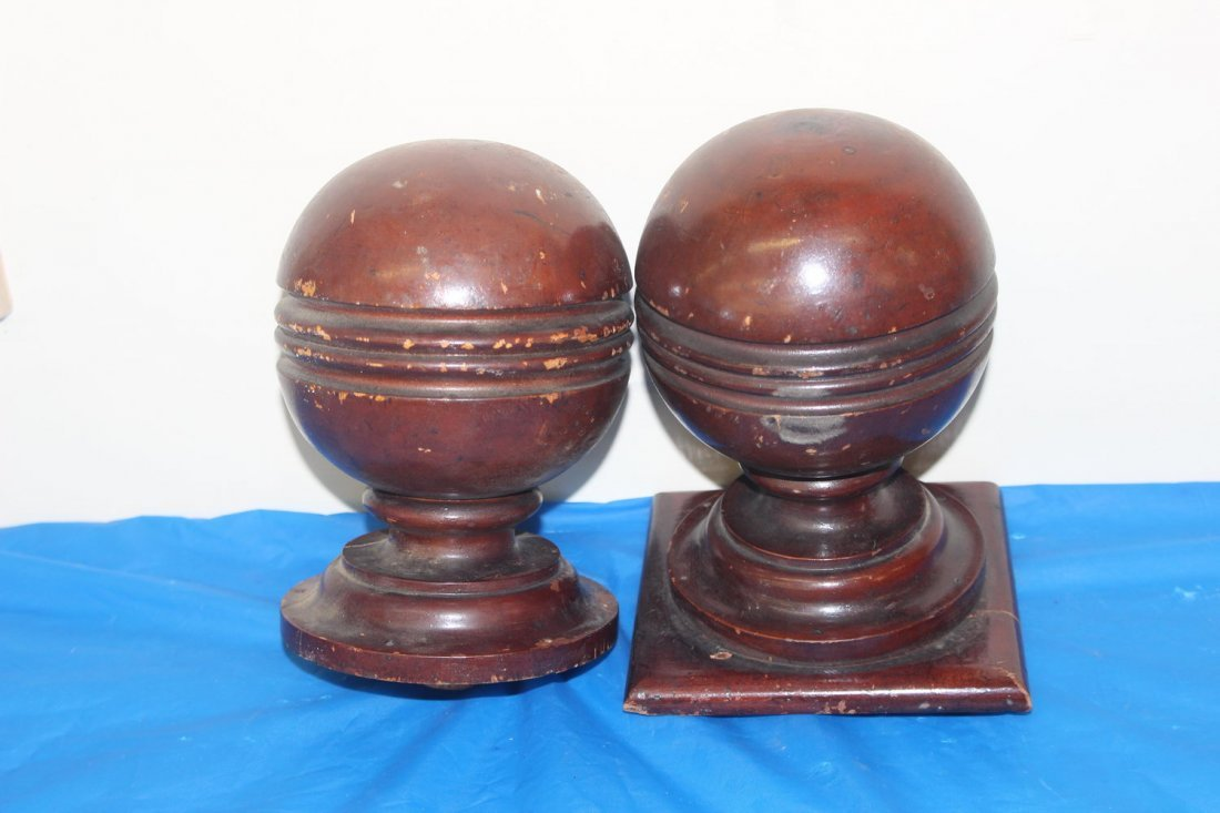 2 MATCHING POST FINIALS FOR STAIRCASE - GOOD CONDITION