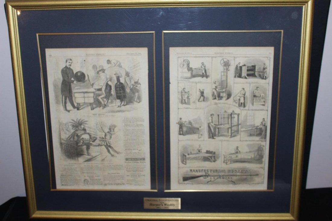 FRAMED 1861 HARPERS WEEKLY