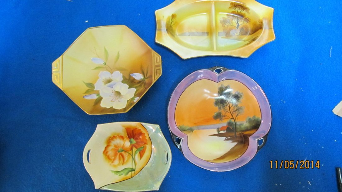 4 PCS. HAND-PAINTED LOT TO INCLUDE 3 PCS. NORITAKE & 1
