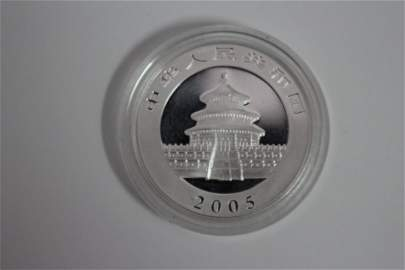 2005 CHINESE PANDA SILVER PROOF 1 OUNCE .999 SILVER -