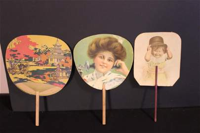 3 NICE PAPER ADVERTISING FANS, FORT PLAIN, ONEONTA,