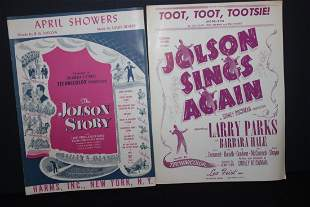 2 JOLSON MOVIE PIECES OF SHEET MUSIC GOOD CONDITION -