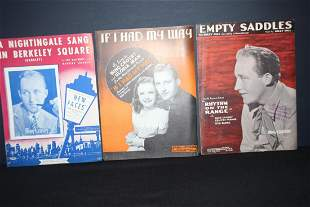 3 PIECES OF SHEET MUSIC FEATURING BING CROSBY ALL GOOD