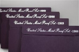 US MINT PROOFS SETS 1988- 1989- 1990- 1991 ALL WITH COA