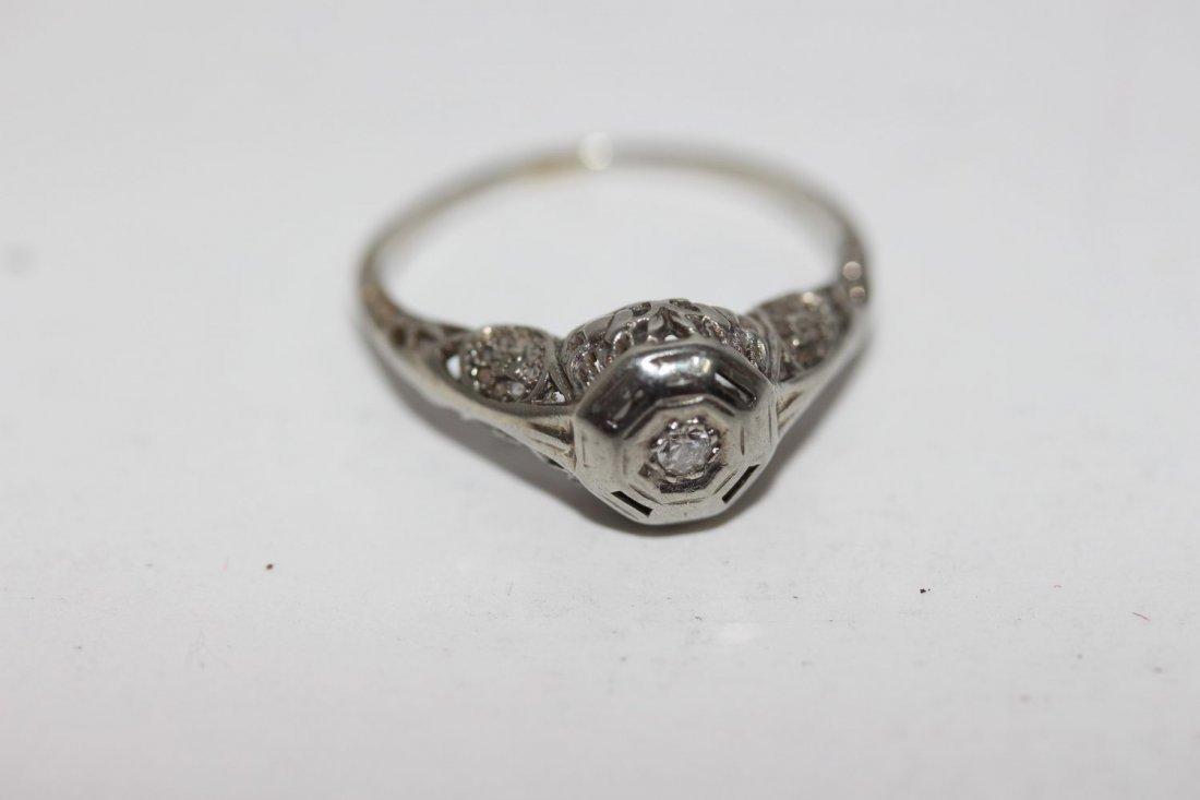 14 K VINTAGE 1910 - 1920 ORNATE OPEN FILIGREE DIAMOND