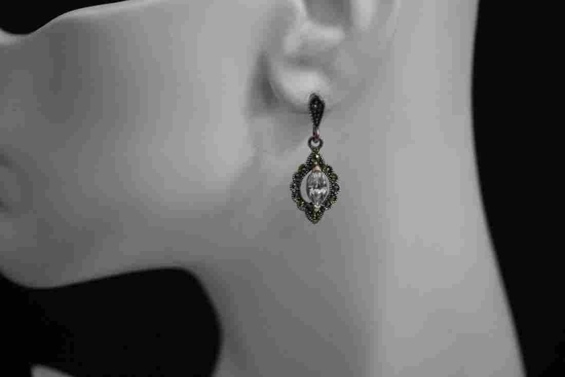 VINTAGE STERLING SILVER MARCASITE AND CZ EARRINGS -