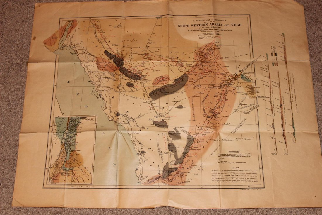 1878 MAP OF NORTH WESTERN ARABIA - FOLDS BUT OTHERWISE