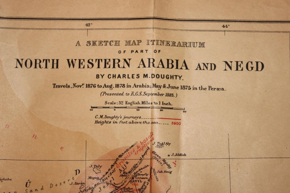 1878 MAP OF NORTH WESTERN ARABIA - FOLDS BUT OTHERWISE - 2