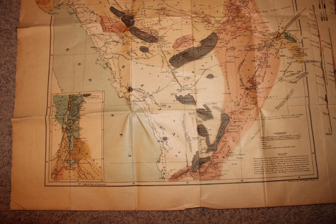1878 MAP OF NORTH WESTERN ARABIA - FOLDS BUT OTHERWISE - 4