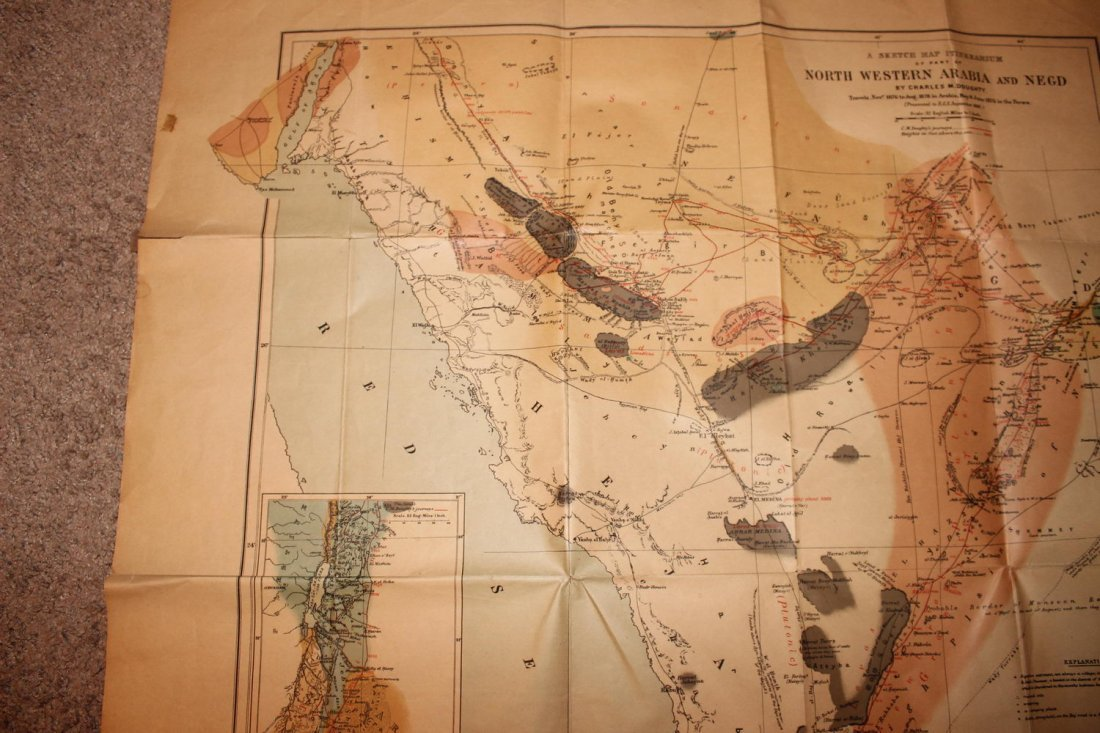 1878 MAP OF NORTH WESTERN ARABIA - FOLDS BUT OTHERWISE - 5