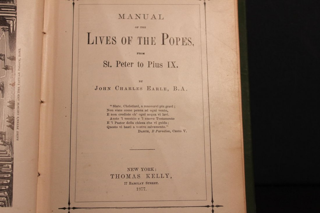 FIRST PRINTING 1877 THE LIVES OF THE POPES WRITTEN BY T - 5